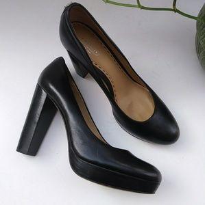 Coach Black Leather Platform Shoes
